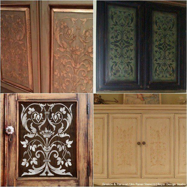 20 Diy Cabinet Door Makeovers With Furniture Stencils Pinterest