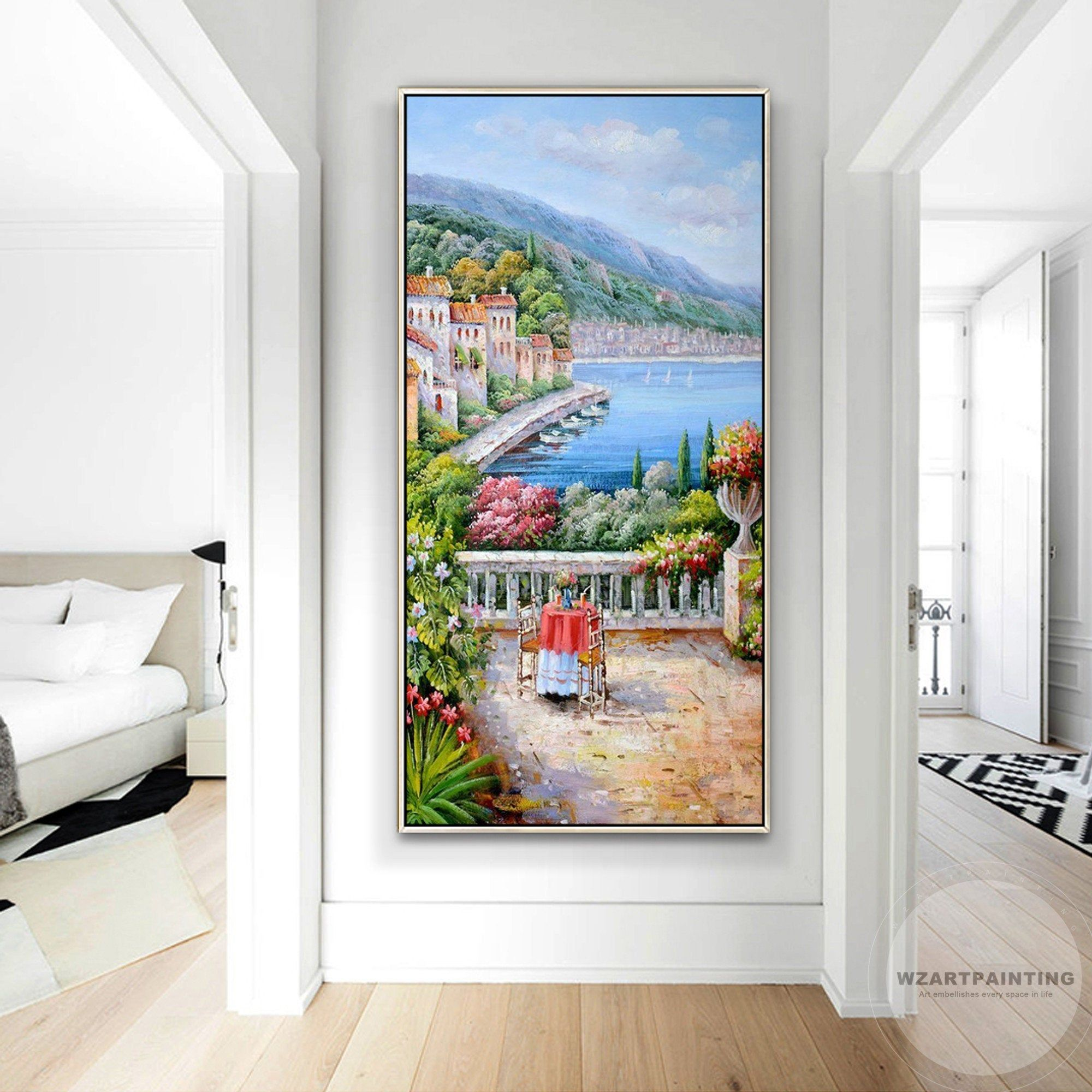 Framed Wall Art Mediterranean Landscape Italy Venice Print Painting Cityscape Painting Large Wall Art On Ca Large Wall Art Cityscape Painting Wall Art Pictures