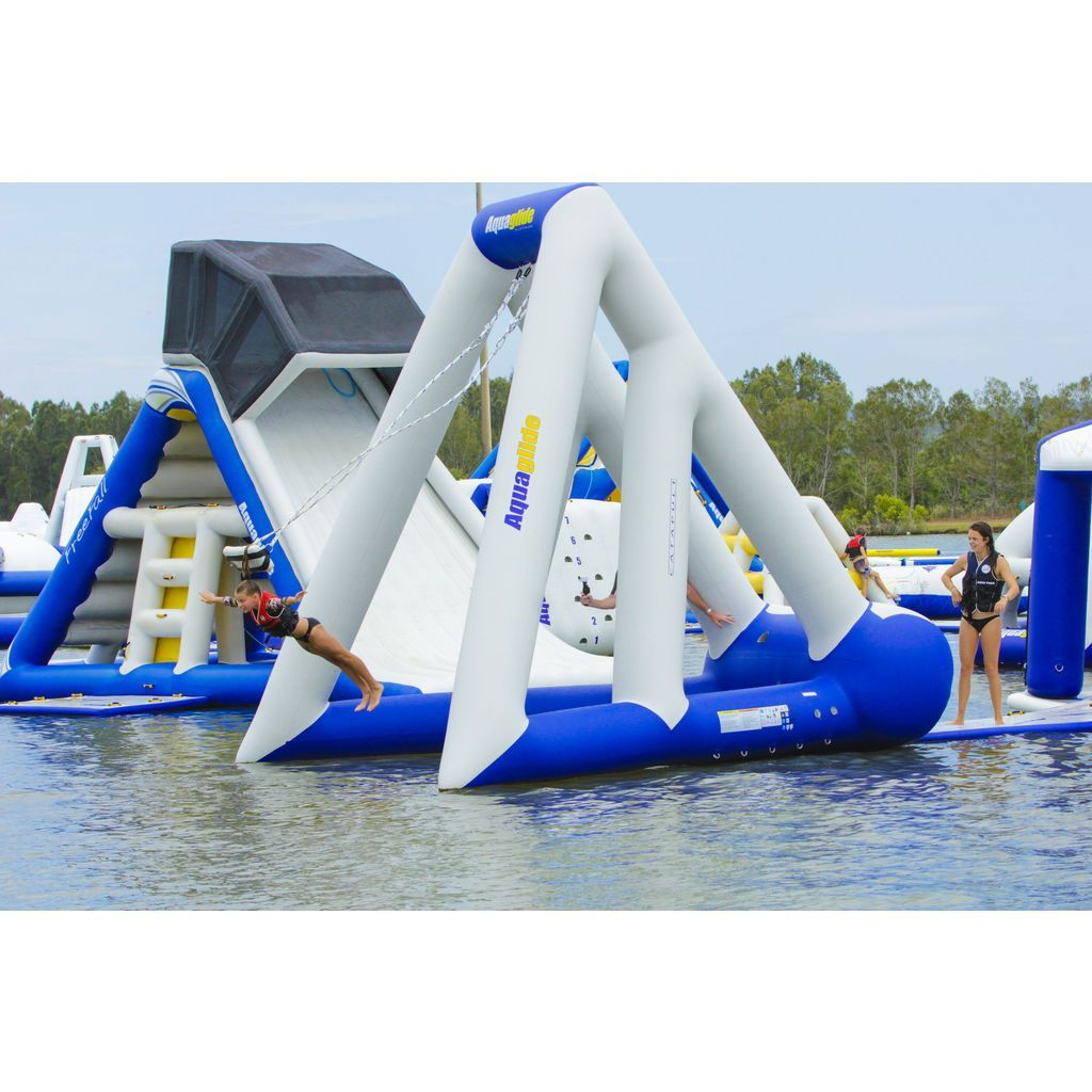 Exhilarating Innovation Meets Child Friendly Construction To Bring You The Catapult Swing From Aquaglide Launch Yourself Int Crazy Pool Pool Floats Water Park