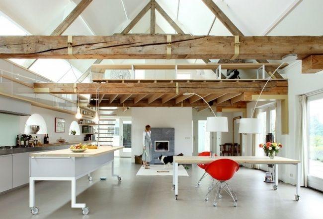 g haus mit satteldach umgebaute scheune innenausbau holland offener raum dach pinterest. Black Bedroom Furniture Sets. Home Design Ideas