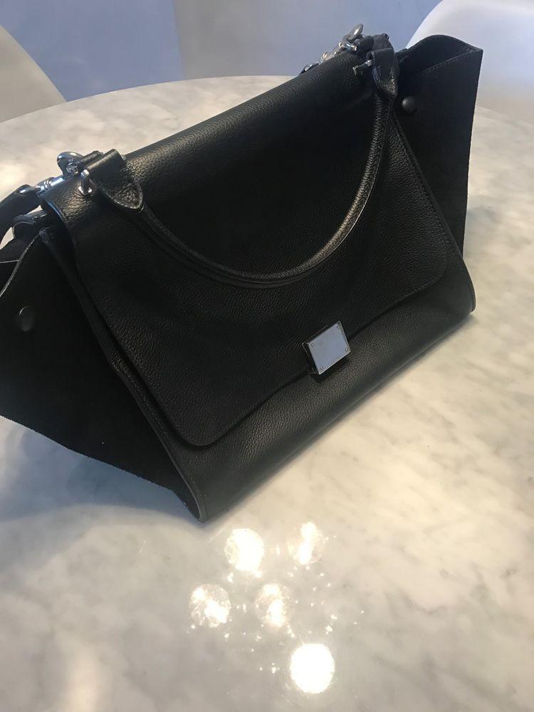 AUTHENTIC CELINE TRAPEZE black leather suede shoulder bag  fashion  clothing   shoes  accessories  womensbagshandbags (ebay link) b95acc3770d5c