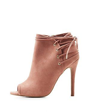cc16848a952d Qupid Lace-Up Back Peep Toe Booties