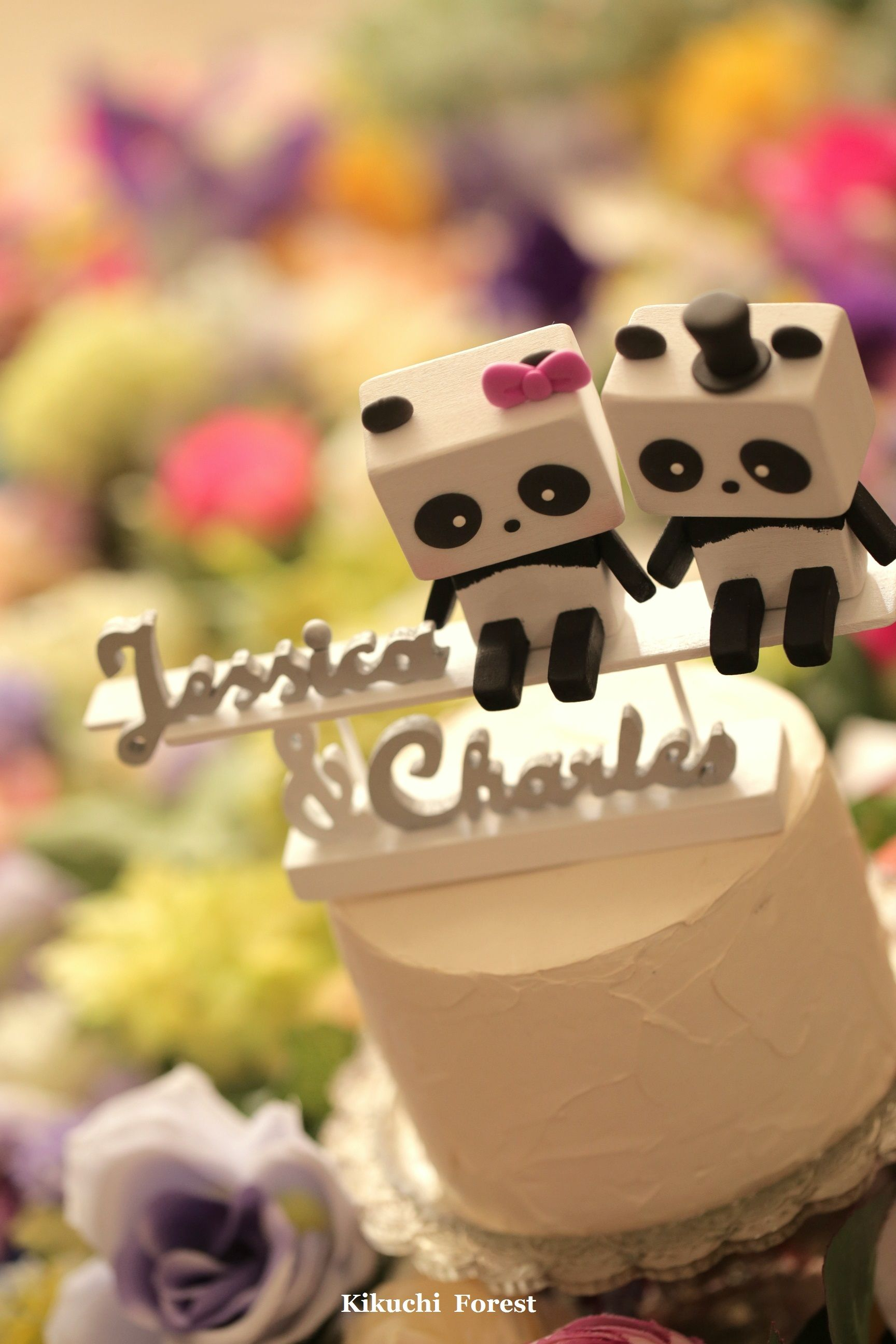 Panda wedding cake topper Handmade,Handcrafted wood panda doll ...