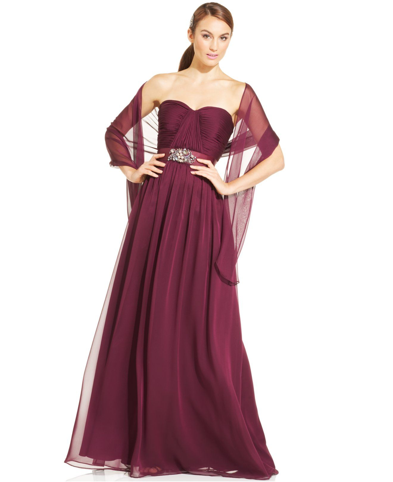 Adrianna papell strapless sweetheart gown and shawl dresses adrianna papell strapless sweetheart gown and shawl bridesmaids women macys ombrellifo Images