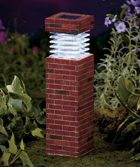 Post Light Brick 11 Solar Garden Pillars Pathway Driveway Lights