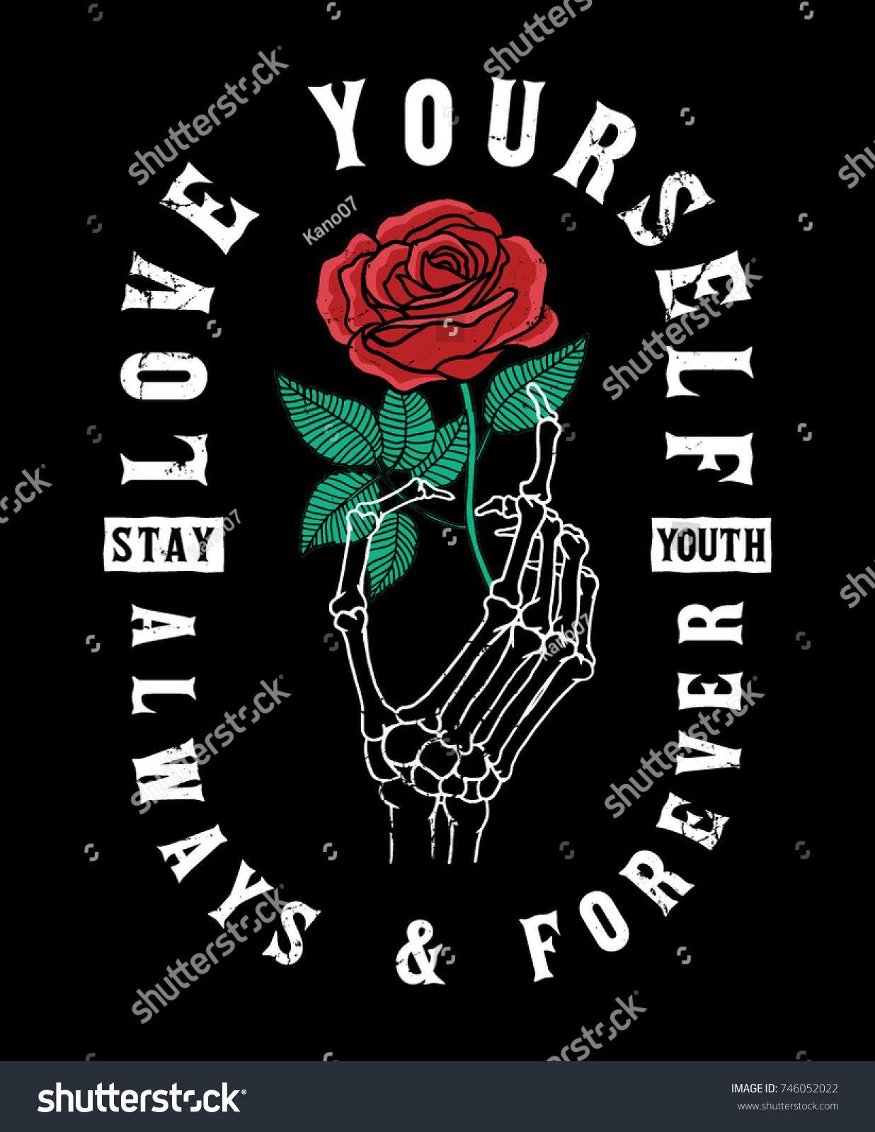 Vetor stock de Mão de esqueleto segurando uma rosa (livre