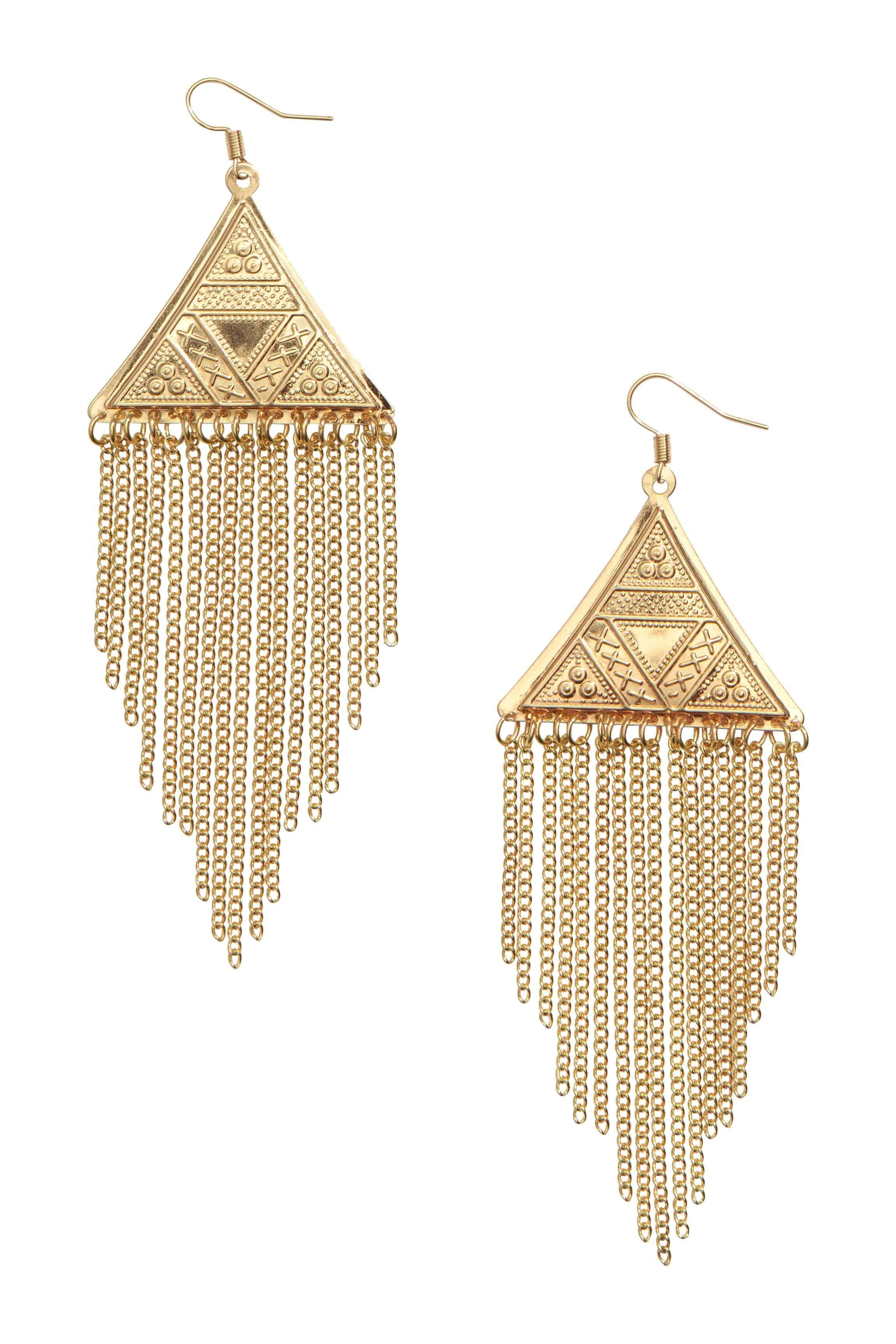 3b13298fdf30 Pendientes largos  Pendientes de metal con colgante triangular grabado y  con cadenas doradas finas de