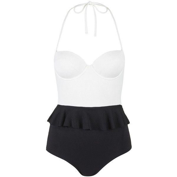 TOPSHOP Peplum Swimsuit ($35) ❤ liked on Polyvore featuring swimwear, bikini, black, black swimsuit, underwire bras, black swim suit, swim suits and underwire bikini