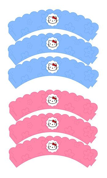 free printable hello kitty cupcake wrappers in pink or blue rh pinterest com