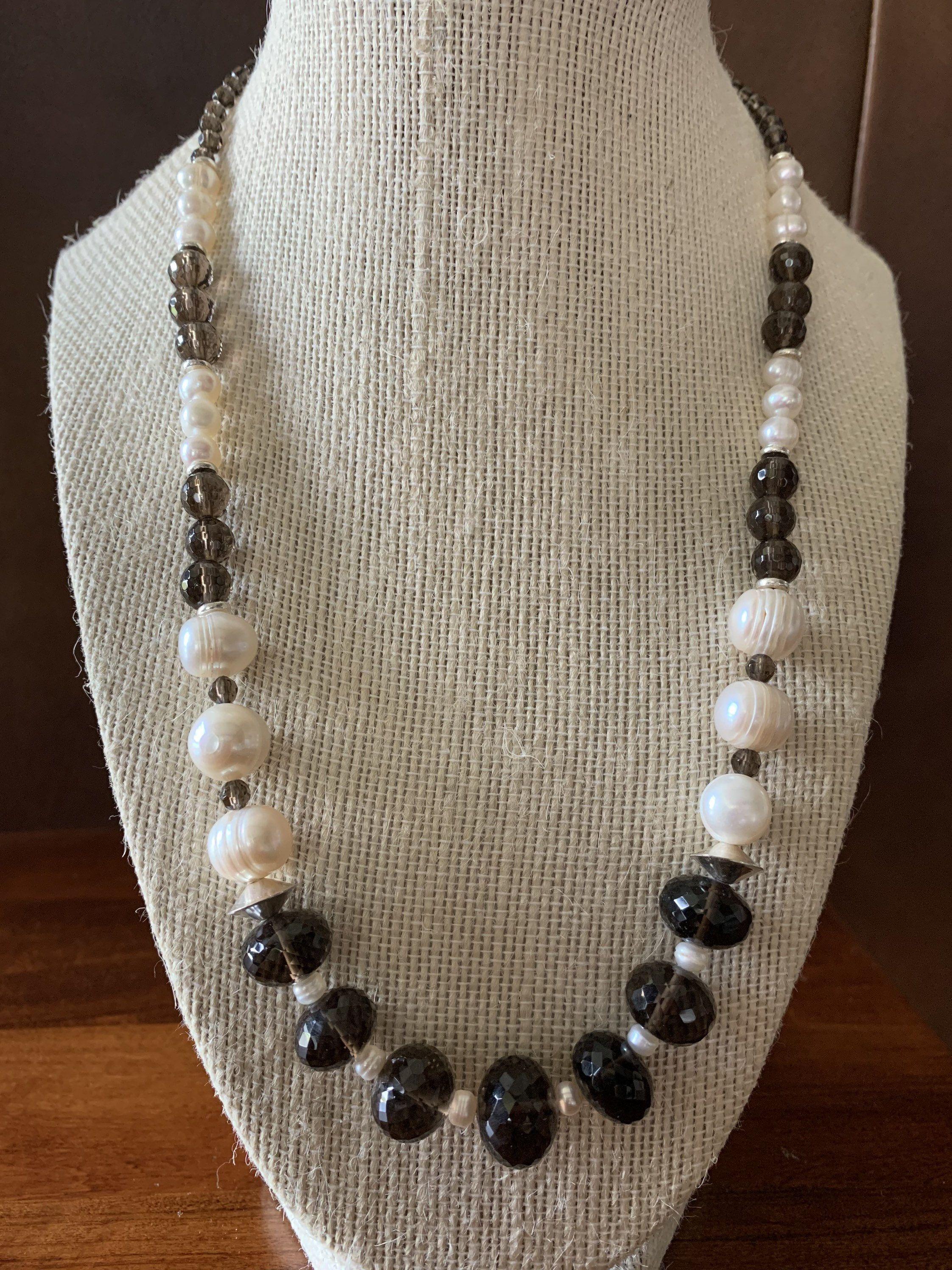 Baroque Pearl Pendant Smokey Quartz Faceted White Quartz