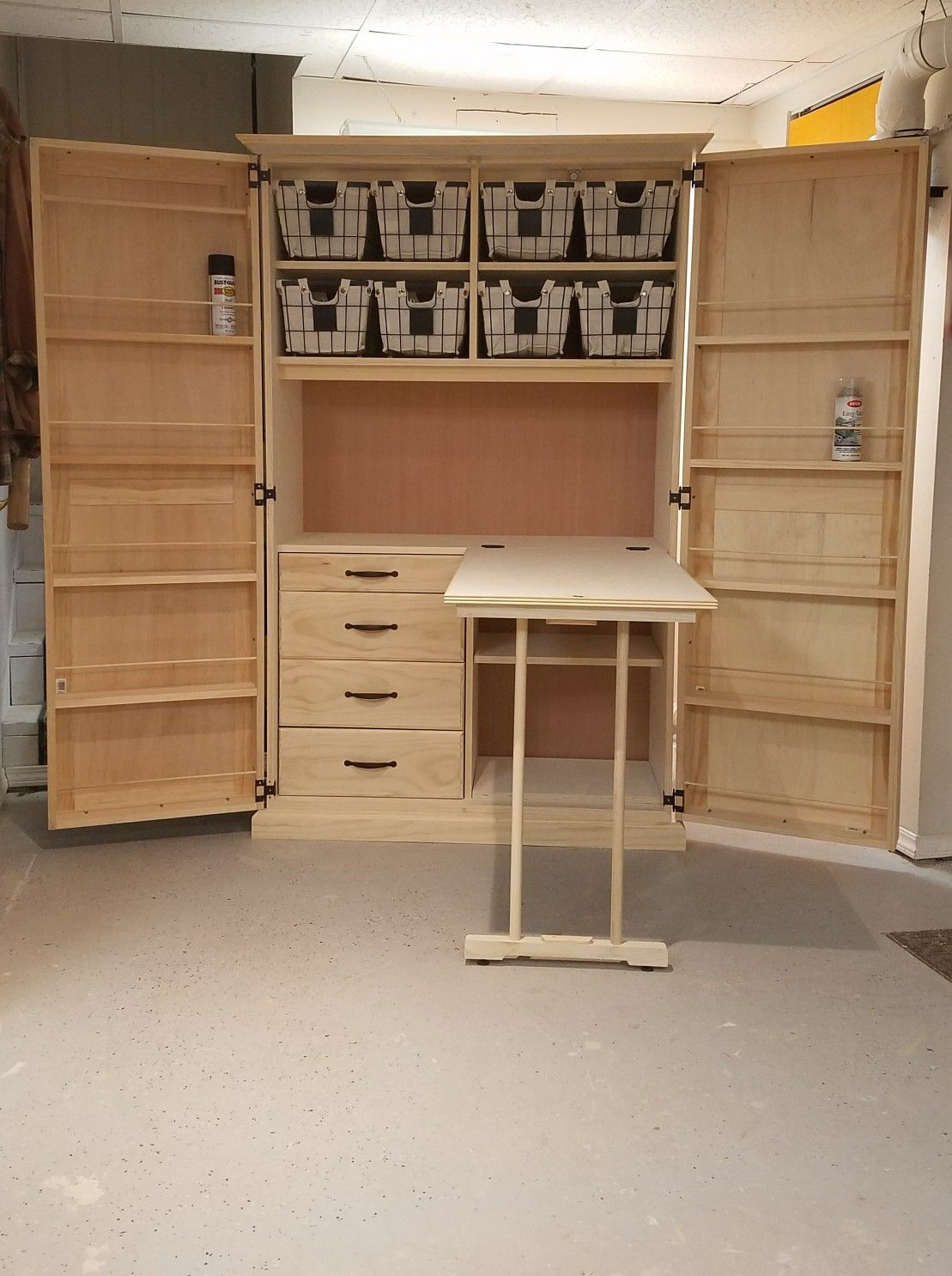 Crafting Cabinet With Fold Out Work Table Craft Storage Cabinets Craft Room Tables Craft Armoire