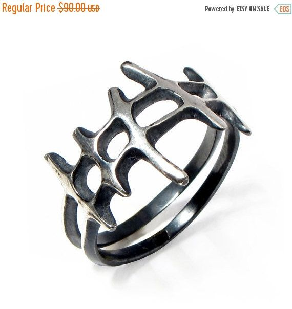 20% off SALE  SAMURAI Black Mens Silver Ring by AroshaTaglia
