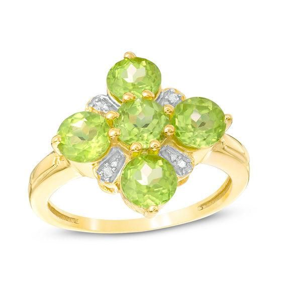 Zales 7.0mm Trillion-Cut Peridot Crossover Ring in Sterling Silver gO5S6OeRaI