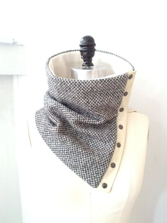 Reserved for Brian, Gray wool cowl and white leather trim | Patrones ...