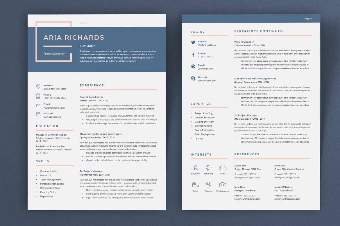 Resume Aria by sz81 on Envato Elements in 2020 Resume