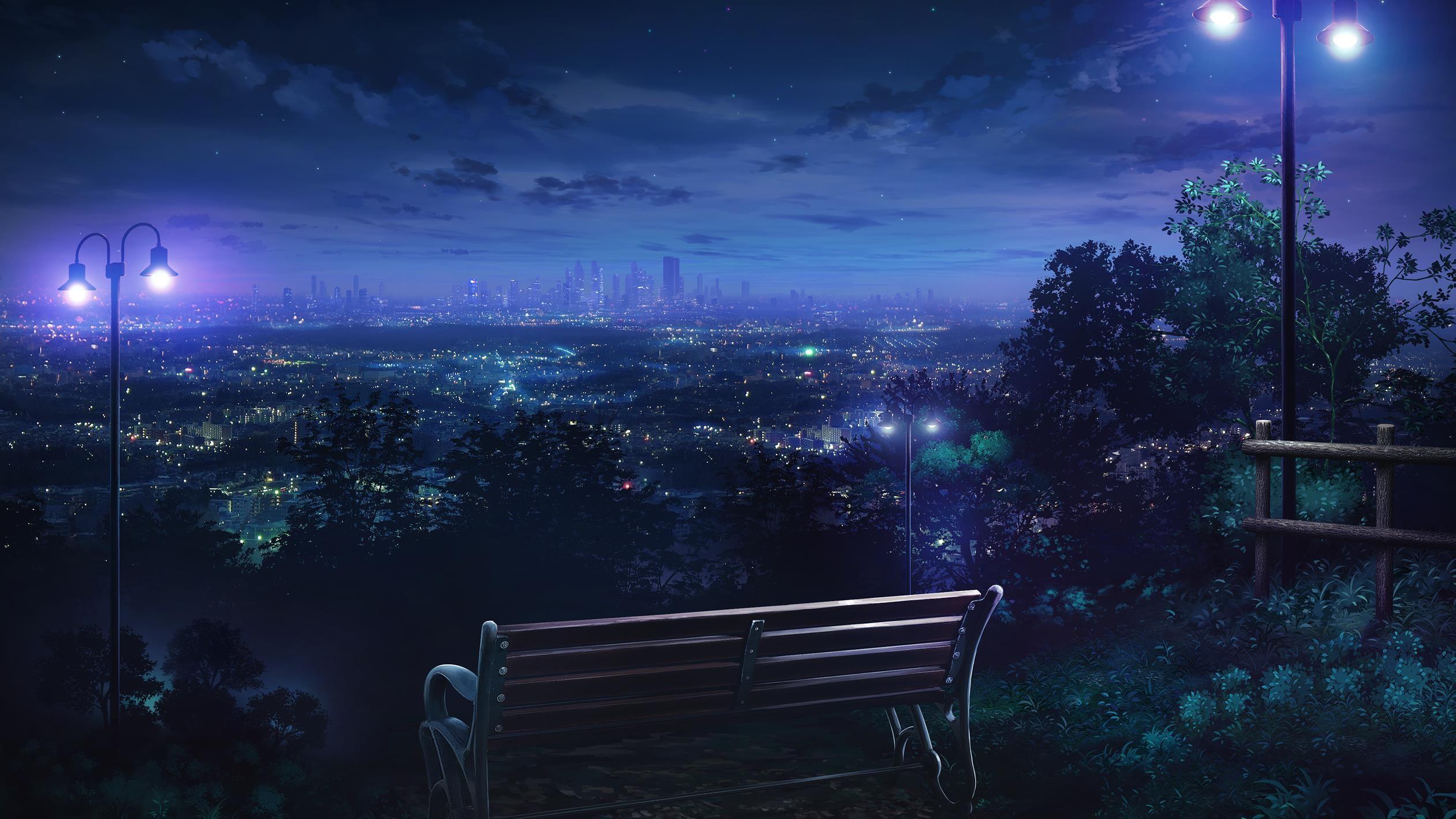 Nightly Wallpapers Cenário anime, Wallpaper paisagem, Anime