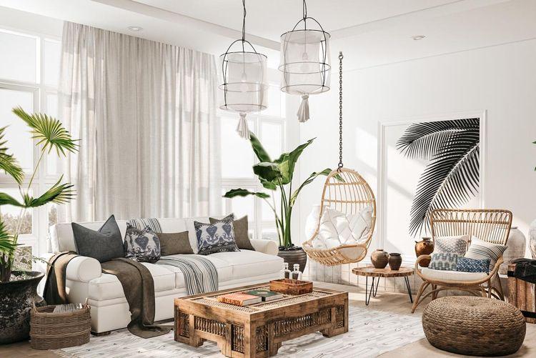 Wohnzimmer im Ethno Look Hängesessel Korb Massivholzmöbel Palmen ...