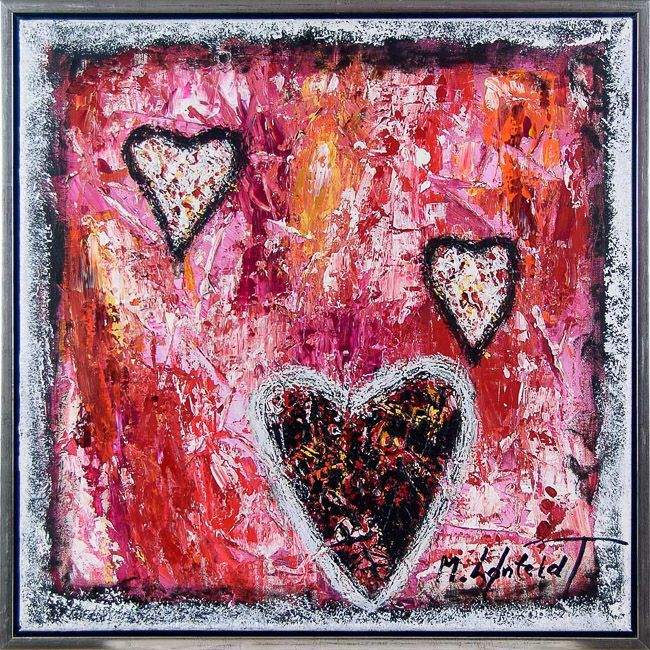Hearts II 60x60 cm - SOLD - Art by Lønfeldt - Art original acrylic abstract paintings