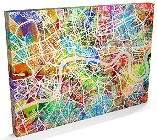 London England Street Map Canvas Art Print, 22x34 inch (A1)