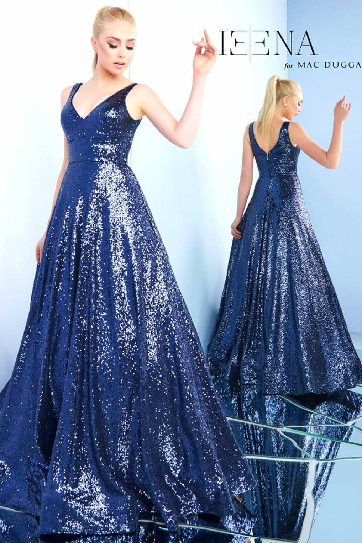 02c8ca141fa Вечернее блестящее платье Mac Duggal 48798I синего цвета с пышной юбкой