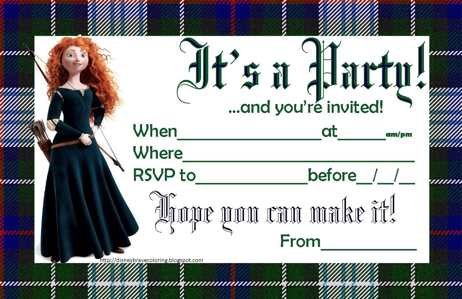 Itus merida free printable disney pixar brave party invitations