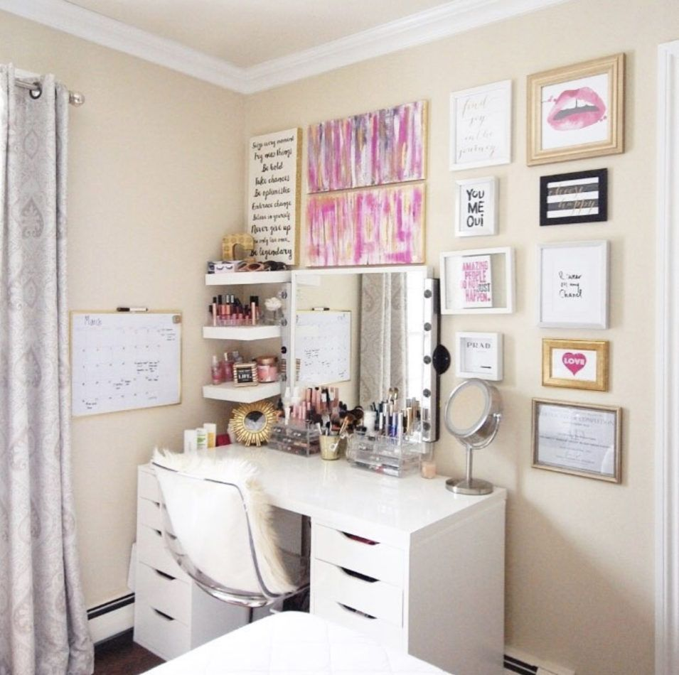 Makeup Vanity For Small Spaces + Glamcor in 2020 Makeup