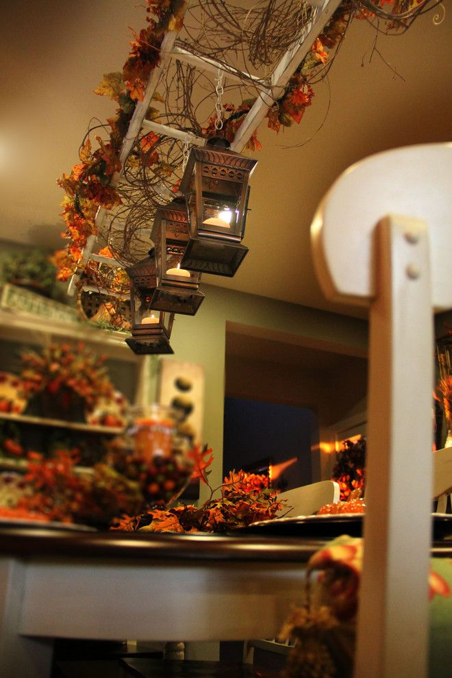 Vintage Ladder Over The Kitchen Island Decor Fall