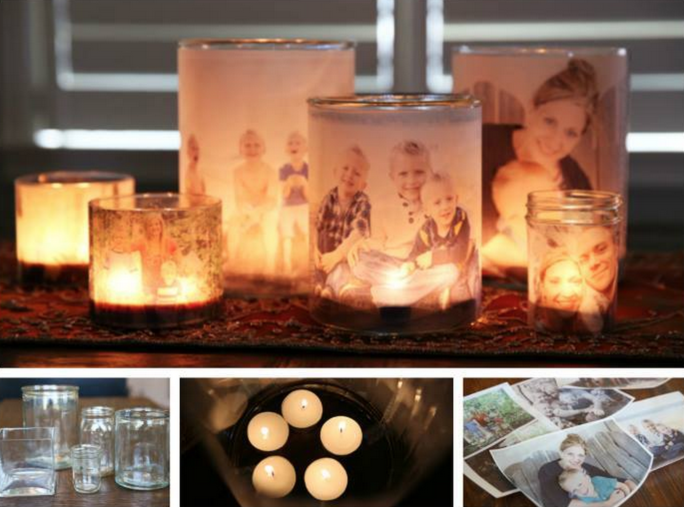 family luminaries/ photo in jars with candle