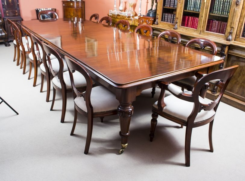 Antique 13ft 6 Victorian Dining Table C 1850 14 Chairs