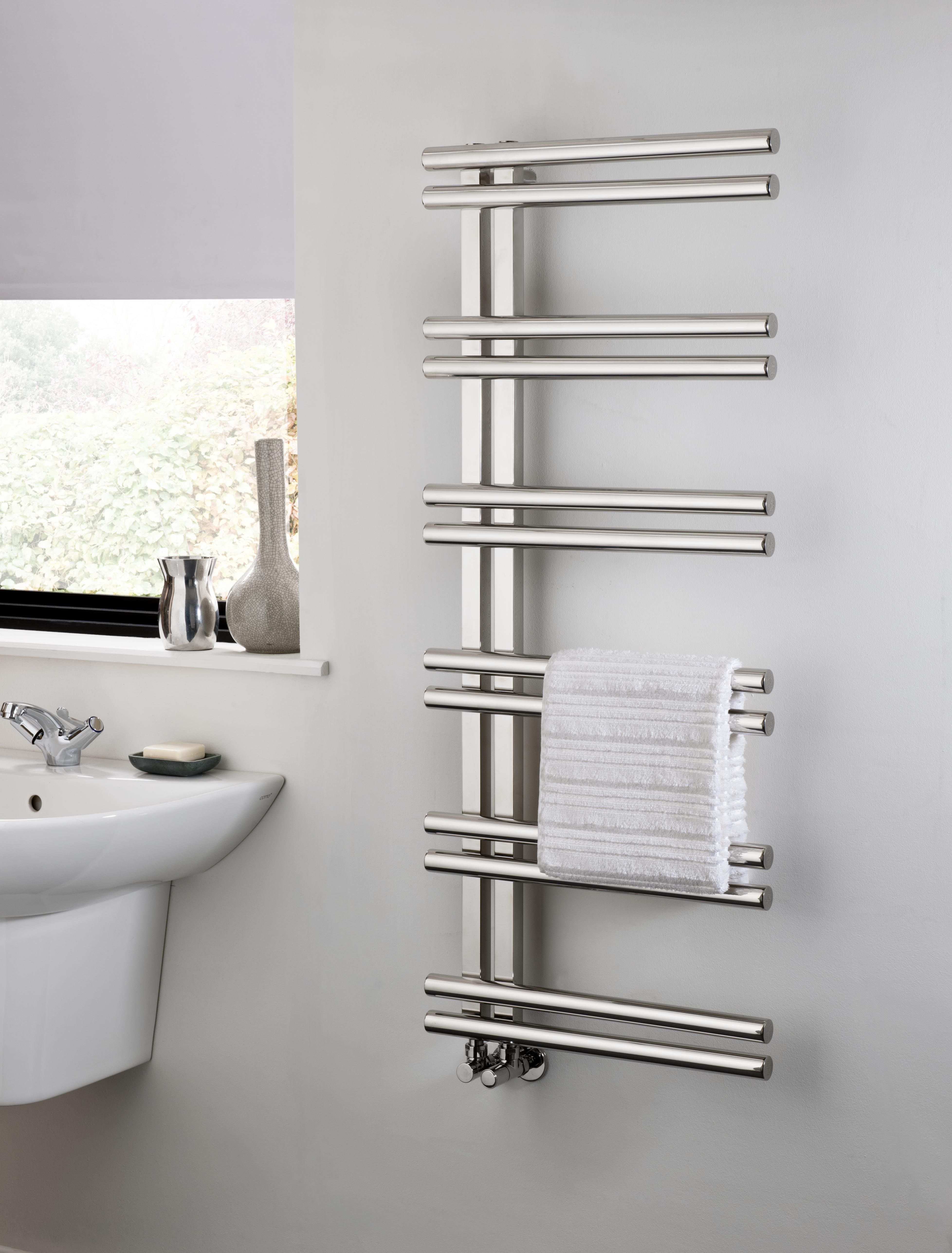 The Radiator Company Stratos Stainless Steel Towel Rail, is a side loading  design making it easy to hang towels on. In stylish polished stainless  steel it ...