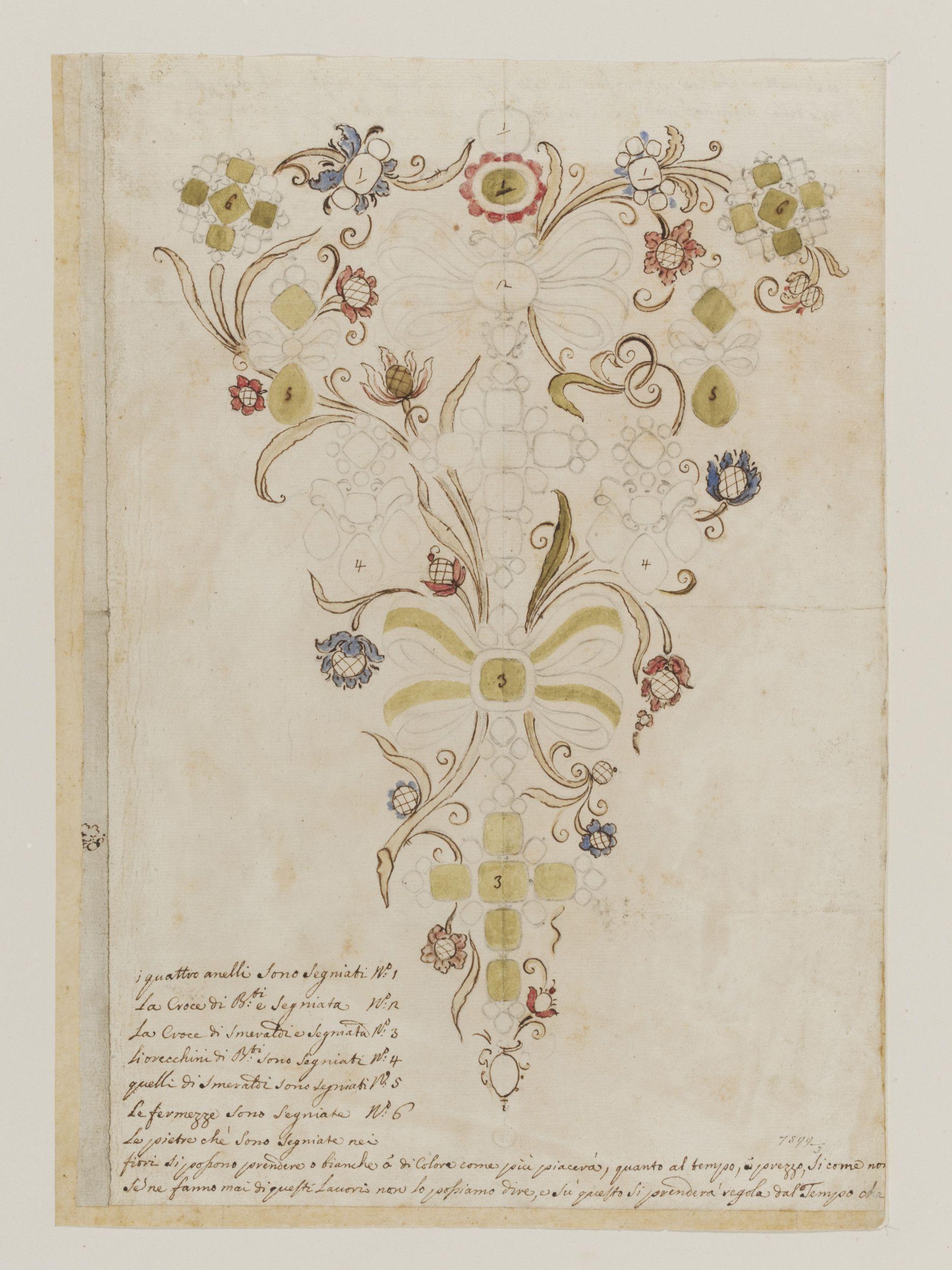 Design for a stomacher. Italian. Victoria & Albert Museum.   Design ...