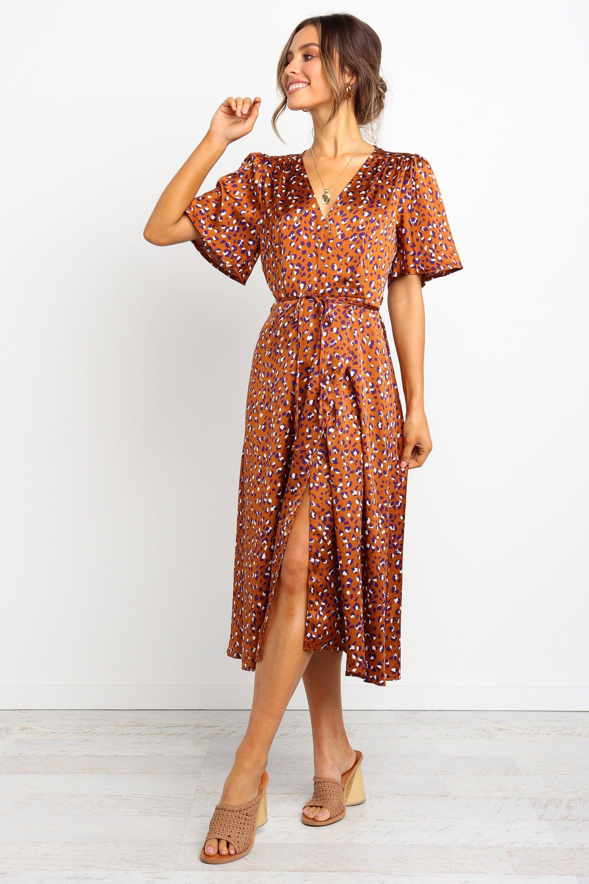 Lagos Dress Tan Petal Pup Dresses Wrap Dress Fashion [ 3072 x 2048 Pixel ]