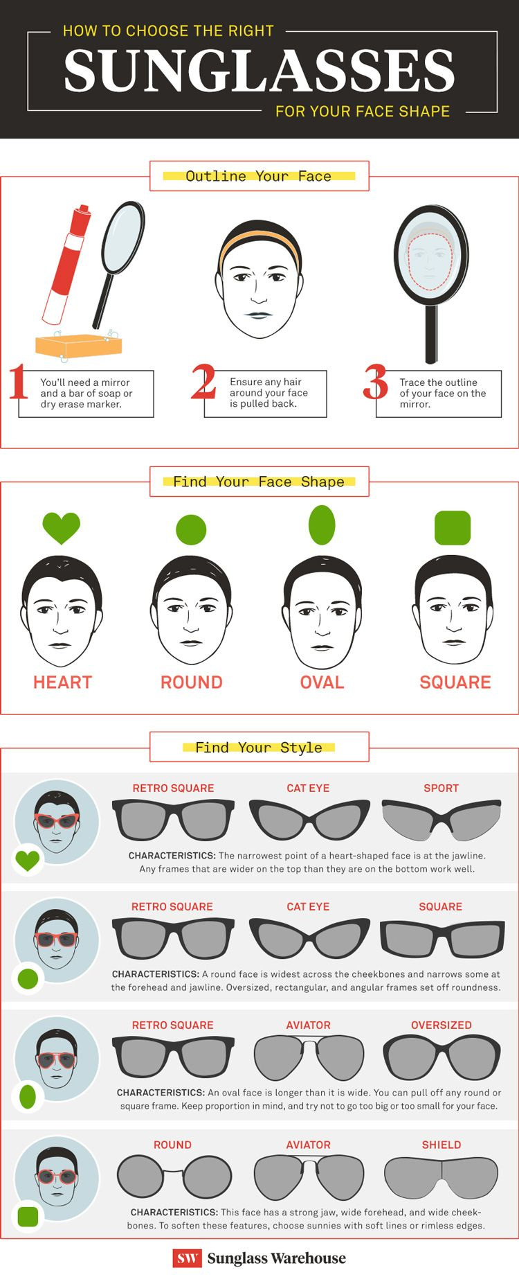 f8c995c7dd Want to know the best sunglasses style for your face shape  Follow our  three easy steps to finding the sunglasses that fit your face!