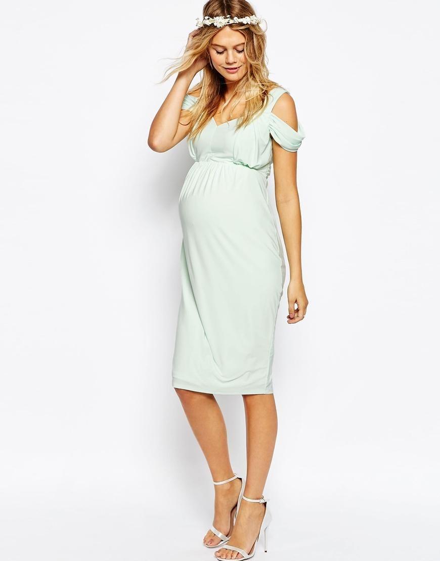 Maternity wedding dress with sleeves  Maternity WEDDING Drape Cold Shoulder Midi Pencil Dress  Maternity