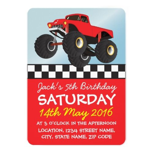 Boys Red Monster Truck Personalized Birthday Card – Personalized Kids Birthday Cards