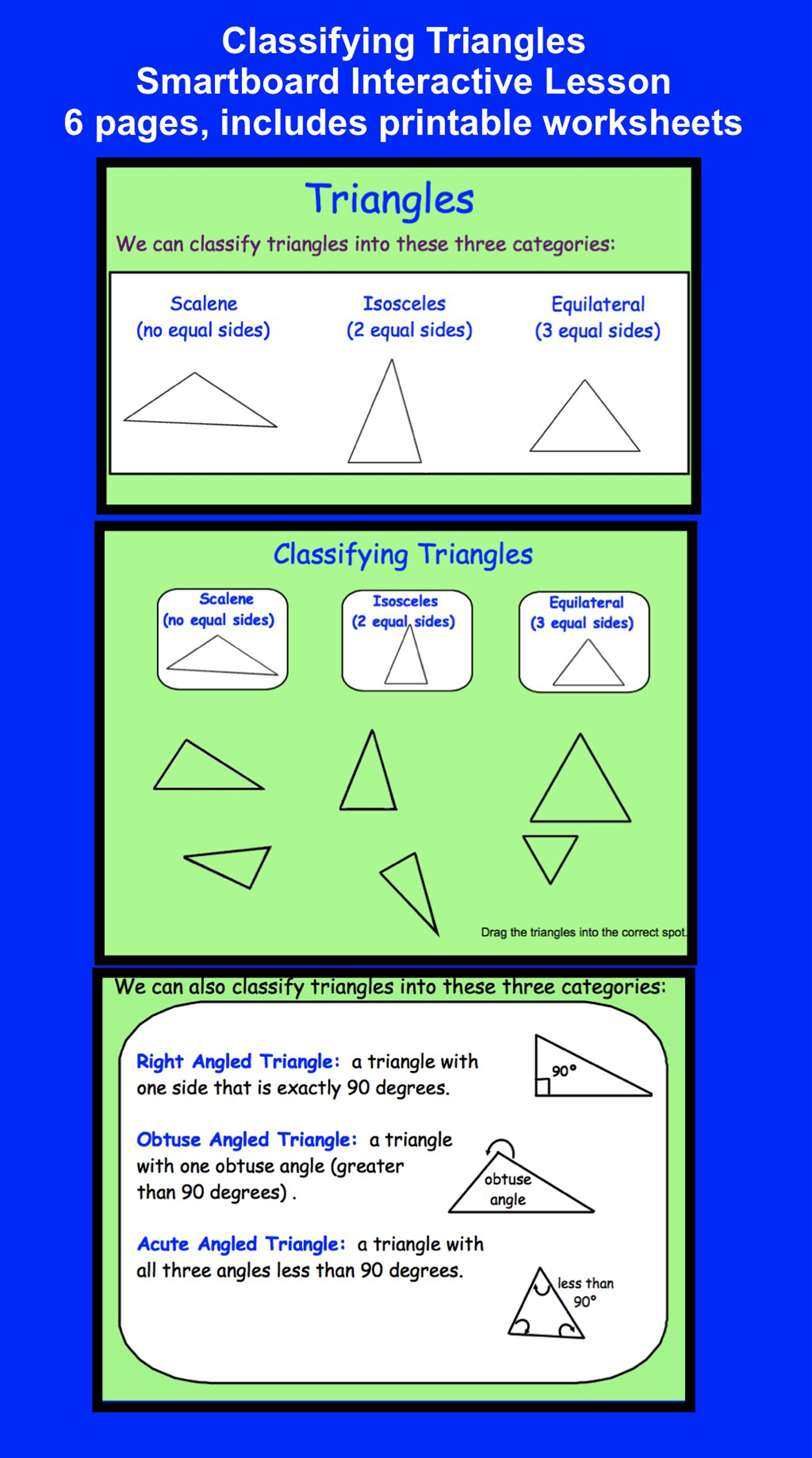 worksheet Classifying Angles smartboard classifying triangles interactive printable angles lesson 6 pages includes worksheets