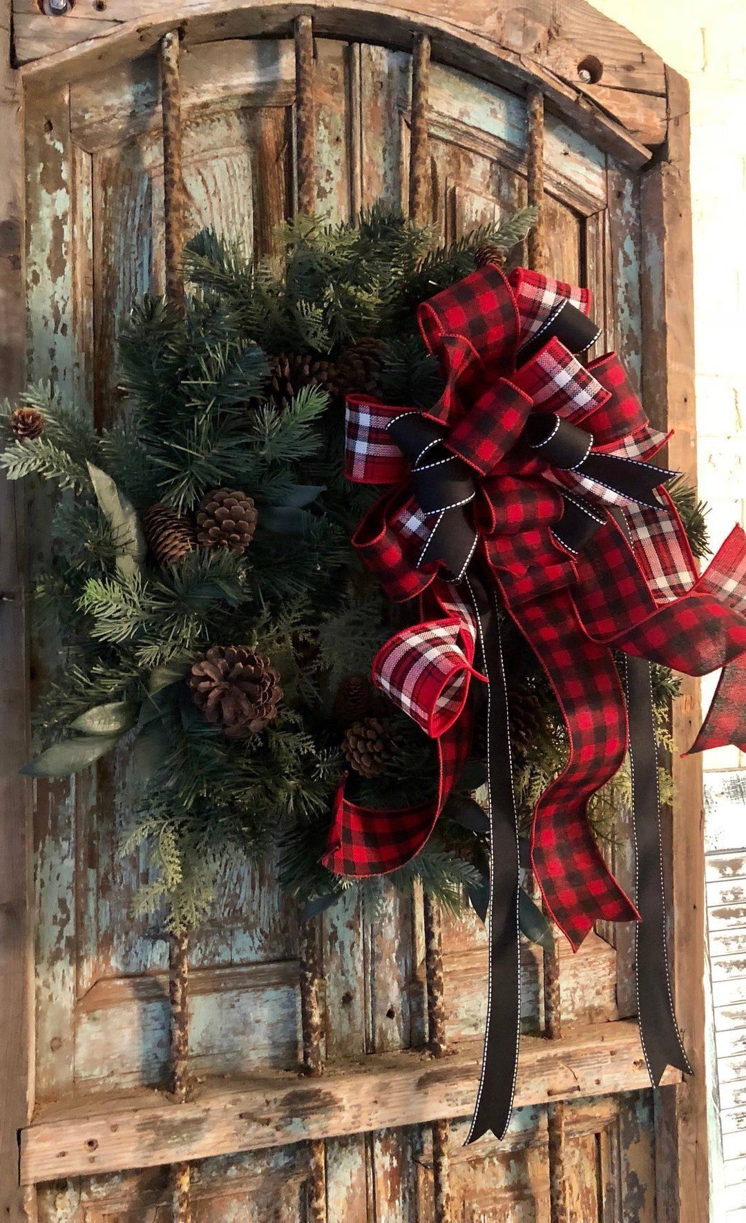 The Emerson Red White & Black Buffalo Check Christmas Tree Topper Bow | Tree topper bow ...
