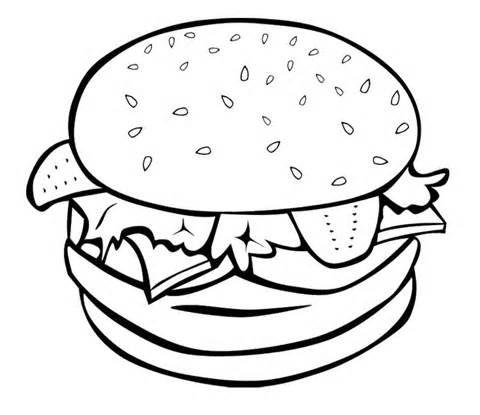 Junk Food Coloring Pages : Junk Food Burger Coloring Page