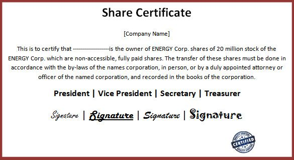 14+ Share Certificate Templates | Free Word & PDF ...