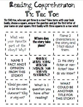Reading Comprehension Tic Tac Toe  Reading Comprehension Tic Tac