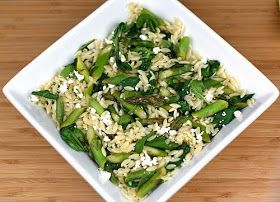 Tartan & Sequins: Lemon Orzo Salad with Asparagus, Spinach, and Feta Recipe