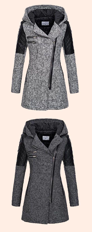 8b9e60b60e9df Zipper Slim Mid-Length Hooded Jacket Manteau Veste, Robe, Vetement Sport,  Tenue