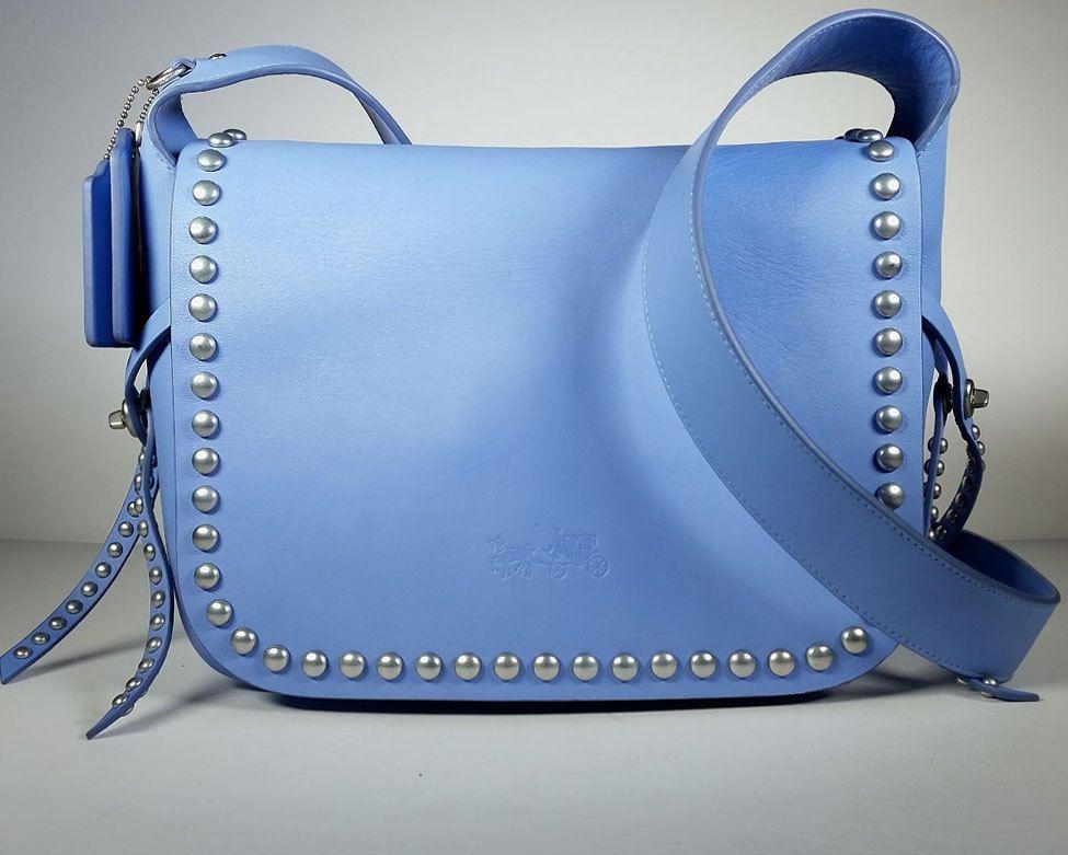 $525 COACH CROSSBODY HANDBAG Blue Leather Dakotah Flap Messenger *EXCELLENT #Coach #MessengerCrossBody