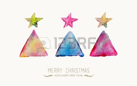 Stock Photo Weihnachtskarten Aquarell Weihnachten Und