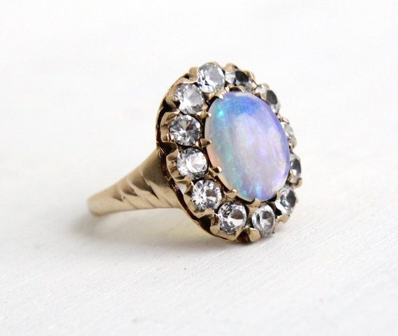 RESERVED for Erin, 1st Payment - Antique 8K Rose Gold Opal & White Sapphire Cluster Ring ...