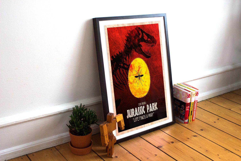 Jurassic park poster wall art print amber crystal t