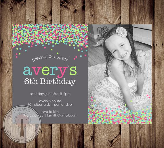confetti photo birthday invitation bright birthday invite girls