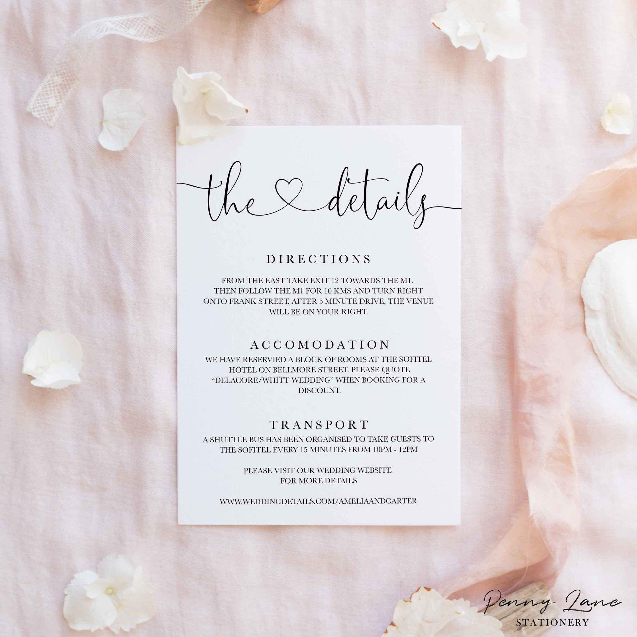 Sophia Minimalist Invitation Suite Details Information Card Minimalist Invitation Wedding Invitation Inserts Wedding Invitation Packages