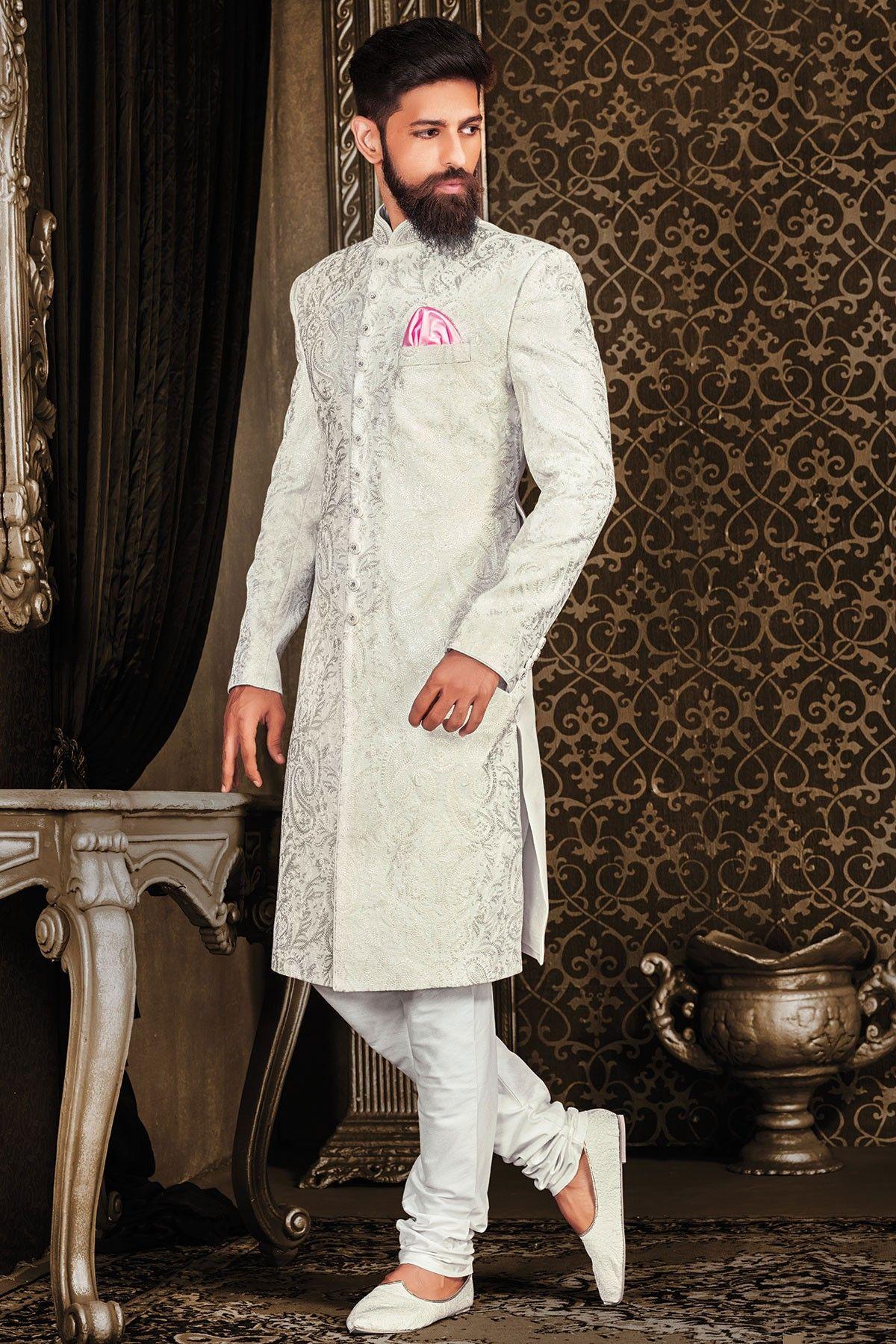 7452b08d43 Samyakk Silver And Gray Silk Embroidered Pakistani Sherwani | Men's ...