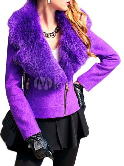 Faux Fur Collar Wool Blend Coat with Zipper-No.1